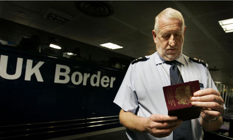 Passports are checked at Gatwick Airport